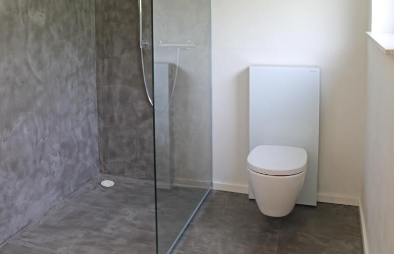 Beton wall floor dusche toilette wohndesign beton - Duschwand fugenlos ...